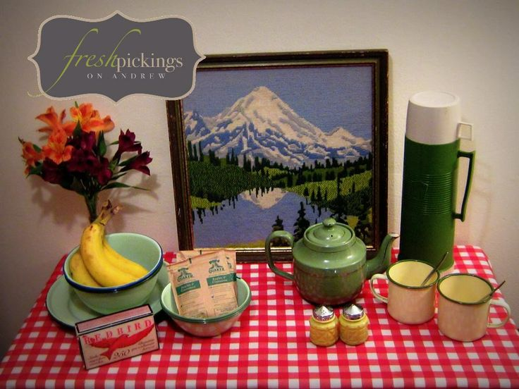 A Picnic in the Mountains! Rachel W. loved using the enamelware bought from Fresh Pickings for camping, picnics and props~