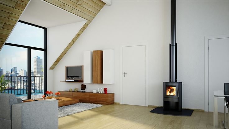 Bosca's Firepoint 360 - Compact, European inspired design and heavy duty. Blends beautifully with modern, open plan homes. #woodfire #fire # homedecor #inspiration #modernhomes #design
