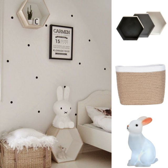 #GettheLook of this #Scandinavian #kids #room with 1. Scandi Hexagon MDF Wall Shelf Set 2. Solano Basket Rectangular Jute Two Tone 3. LED Rabbit Light All from @thewarehouse #thewarehousenzhacks #furniture #NewZealand  #thewarehousenz #interiors #house #