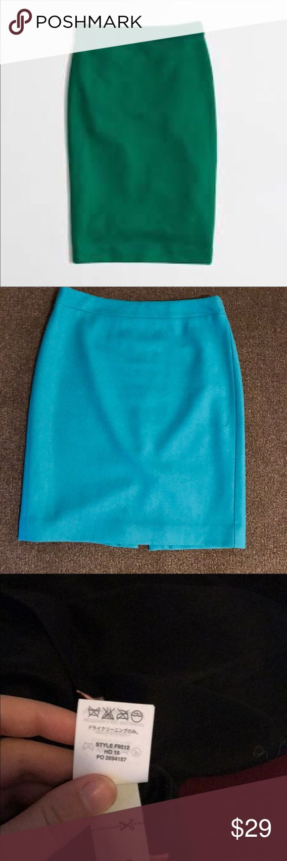 J. Crew Factory wool blend pencil skirt Like new condition, worn twice by me. Measures 15 inches flat across waist and 21 inches long. Slit in back and zips in back. Fully lined. Stock pic (first pic) is best representation of color, it's a beautiful emerald green. J. Crew Factory Skirts Pencil