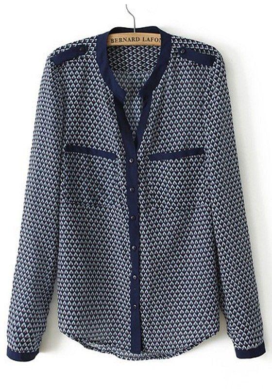 Multicolor Geometric Pockets Band Collar Cotton Blend Blouse