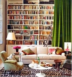 Library: Bookshelves, Ideas, Living Rooms, Home Libraries, Dreams, Books Shelves, House, Bookca, Green Curtains