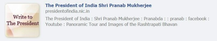 Metadata of the President's website contains 'Pranabda' a Bengali way of addressing a male. #India