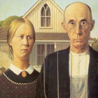 """Grant Wood  American  (1891-1942)American GothicThis is likely the most famous American painting of all-time and has been the basis for many parodies. """"Gothic"""" (an architectural style used for churches) refers to the top window of the house in the background. During the Great Depression, this painting became a symbol of the hard-working and determined American people. Note that the pitchfork is mirrored on the man's overalls."""