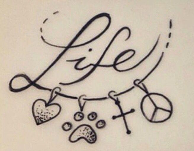 New tatoo...My Life: Fe+Amor+Paz+Sueños