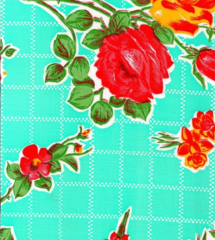 Round Rose N Grid Aqua Oilcloth Tablecloth You By Freckledsage