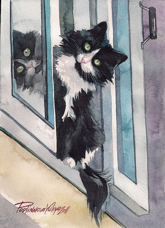 Impression De Peinture Aquarelle Tuxedo Chat Noir Et Blanc Chat