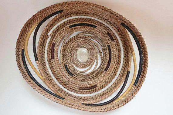 "Earth tones, Pine needle basket wall hanging, home decor, wall art,  interior decor,  ""Mocha Swirl"" by Linda Miranda"