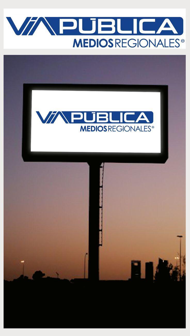 Logo para Medios Regionales y su marca VIA PÚBLICA, pantallas Led regionales.