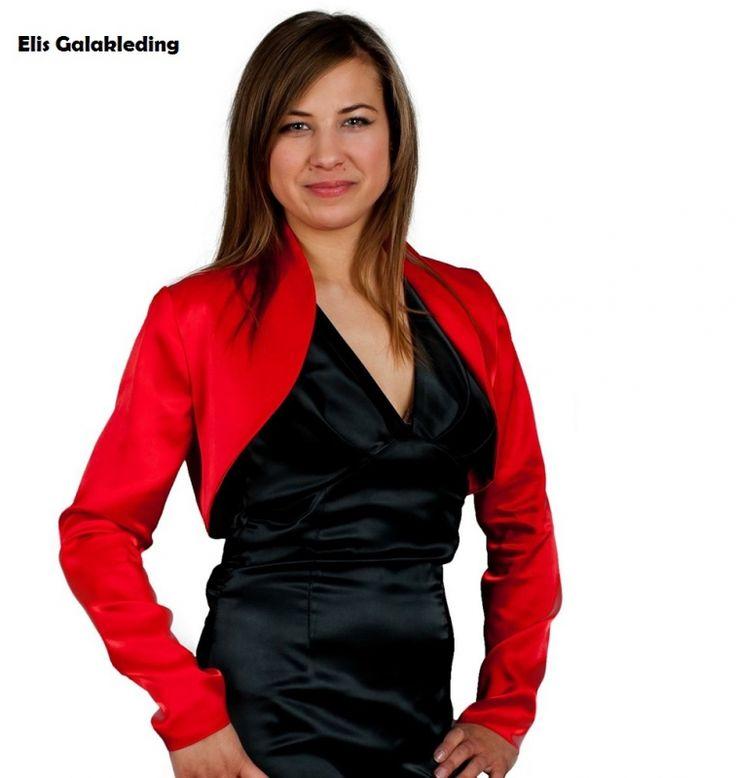 Dames bolero jasje van satijn. Met lange mouwen. Kleuren: rood, paars, wit, roest, roze, mostaard, blauw,bruin, zwart. Andere kleuren op aanvraag. - € 49,00