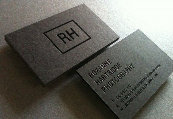 RH Posted: 2:15 am Sunday, May 29, 2011 in: Business Card, Foil Roxanne Hartridge Photography Business cards Black gloss foiled on Keaykolour Jet Black 400gsm. Designed by We Are Synapse.