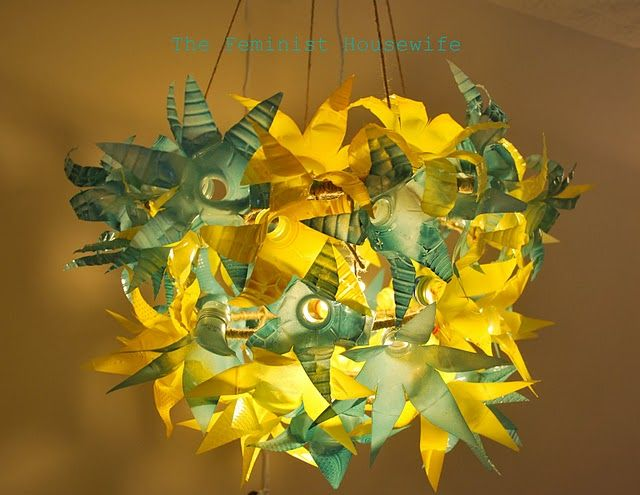 recycled plastic bottle chandelier