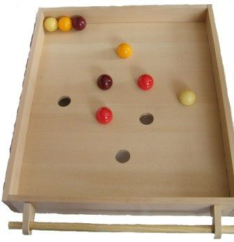 The Roll  Goal of the game  Put the balls in the holes as quickly as possible or in a minimum of movements.  CAUTION: One of the red balls must go into the hole marked with red.  Technical features of the roll:  Dimensions: 90 cm x 70 cm x 14 cm  Material: Beech play frame  Content:      The game frame with its handle and its two fixed rings  8 billiard balls of different colours.  1 wooden ball.  1 wooden ring.