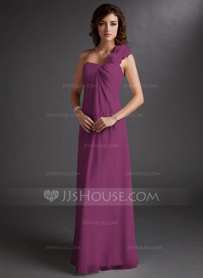 7f8142cb9be Empire One-Shoulder Floor-Length Chiffon Bridesmaid Dress With Ruffle Flower(s)  (007016719)