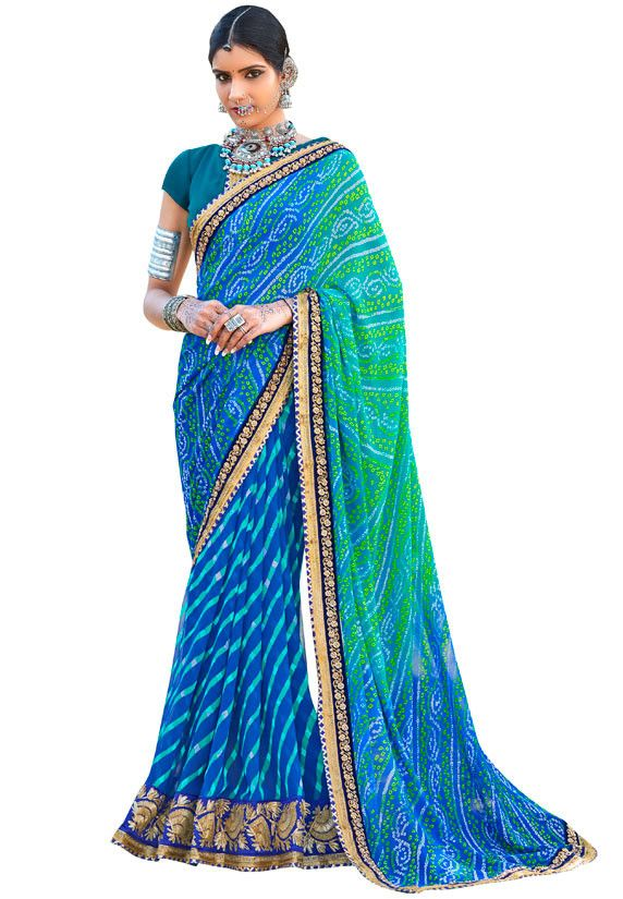 Royal Blue and Rama Green Bandhani Print Saree