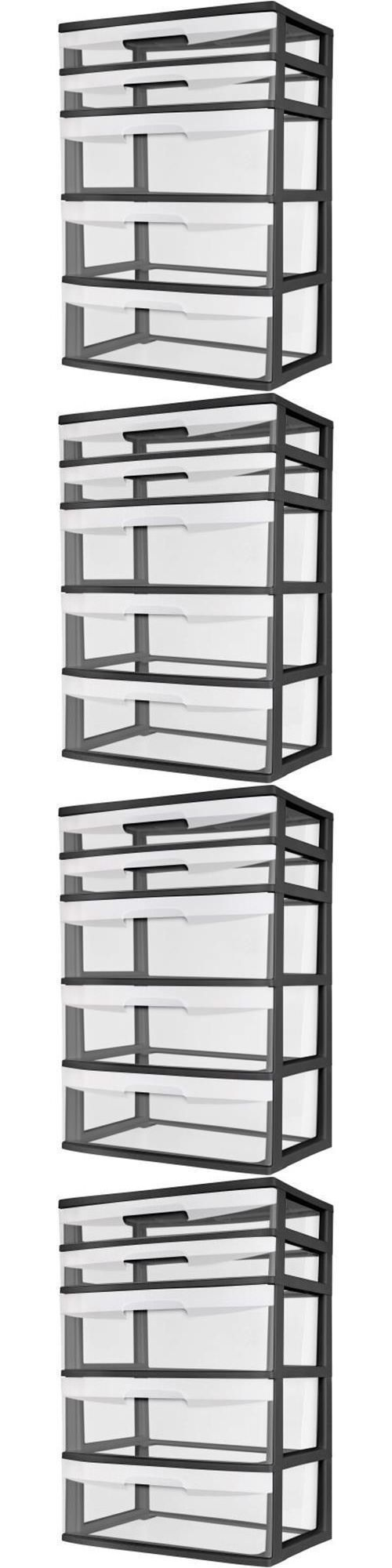 White tilt out clothes storage basket bin bathroom drawer ebay - Storage Boxes 159897 5 Drawer Wide Tower Storage Sterilite Organizer Cabinet Heavy Plastic New