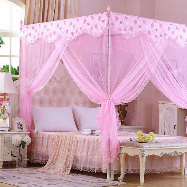 Princess Girls Four Corner Poster Bed Canopy Mosquito Netting