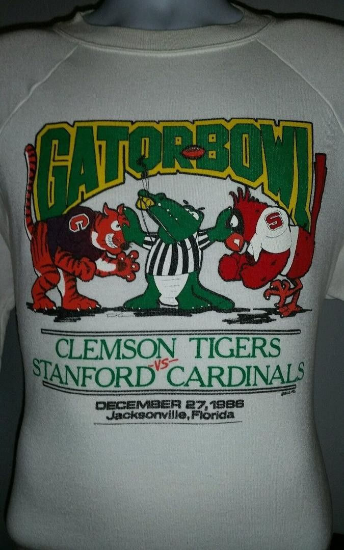 VTG 1986 GATOR BOWL CLEMSON TIGERS VS STANFORD CARDINALS SWEATSHIRT LARGE | #1781764860