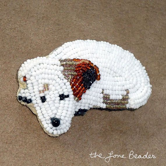 IRISH JACK RUSSELL Terrier beaded keepsake pin/ pendant  (Ready to Ship)