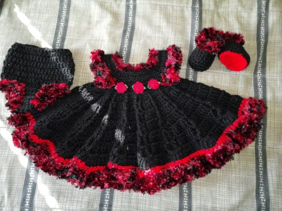 black and red Christmas baby dress outfit with by BabyBeautiful801, $35.00