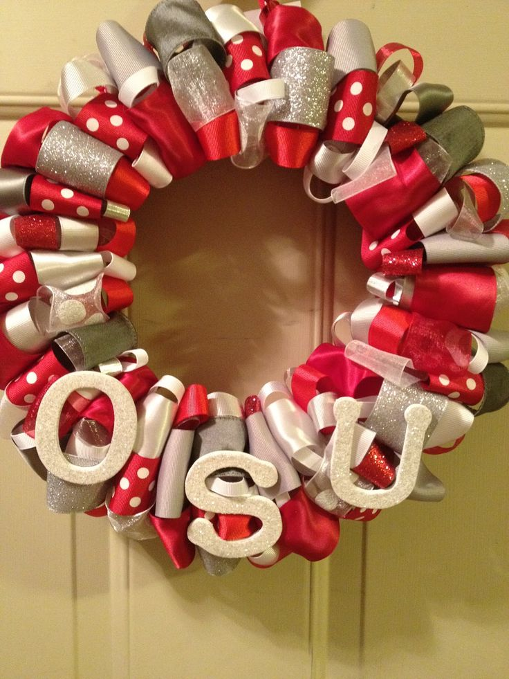 Here is an Ohio State wreath I made.  You can purchase this wreath here.   Please follow my blog so you can see all of the wreaths I make!...