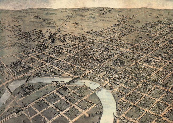 Period view of Columbus, Ohio. The Union Depot (Union Station) can be seen at upper left of city area. The troops disembarked the train, here, and marched back across the river and west to Camp Chase, about five miles away.