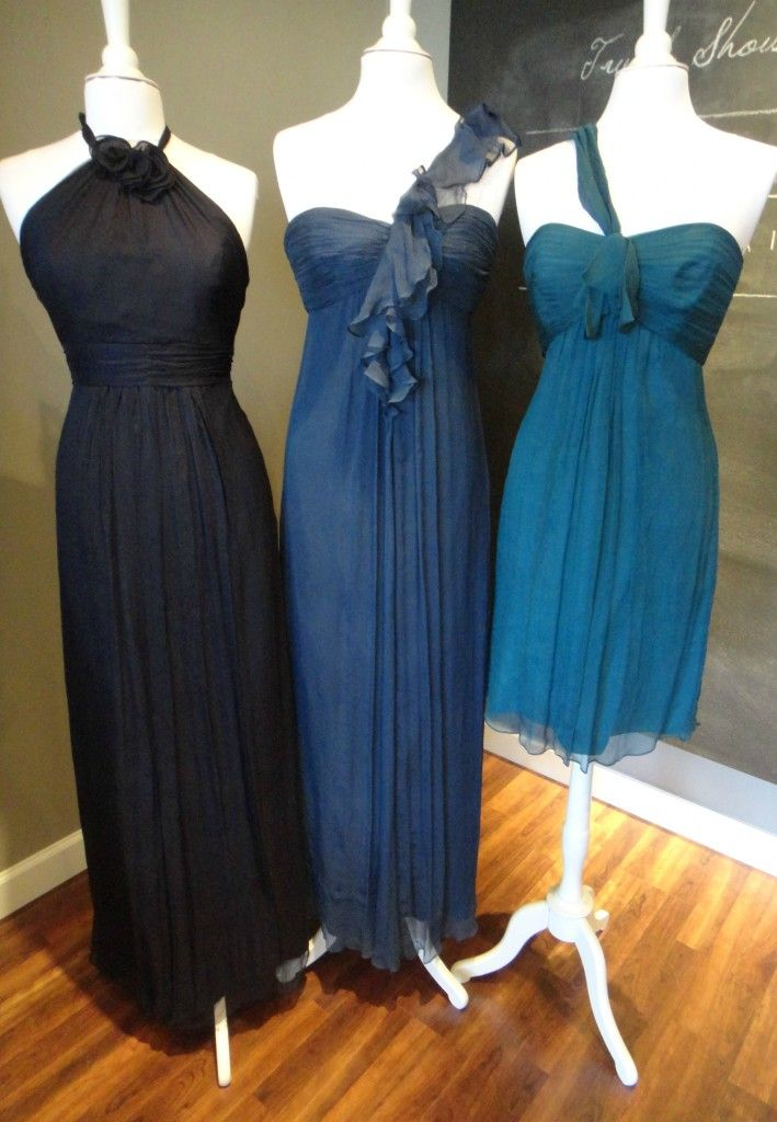 "Ready or Knot {Wedding Chic} Bridesmaid  Dress Color Combo: ""New Blue"" from Amsale  -  Navy, French blue, and Pacific"