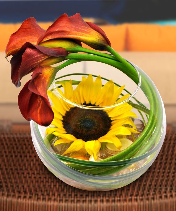 Simply Striking Sunflower Bowl - Floral Arrangements - Beneva Flowers - gifts - Sarasota - Florida - 34238