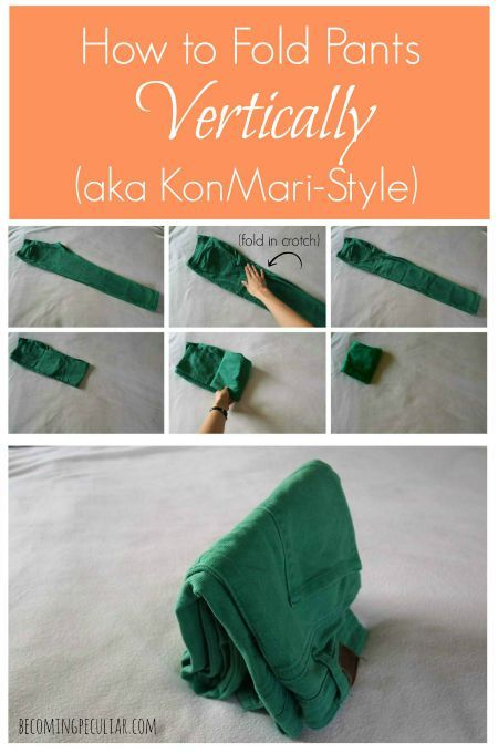Howto fold pants the KonMari way✖️Art  Ideas ✖️More Pins Like This One At FOSTERGINGER @ Pinterest✖️