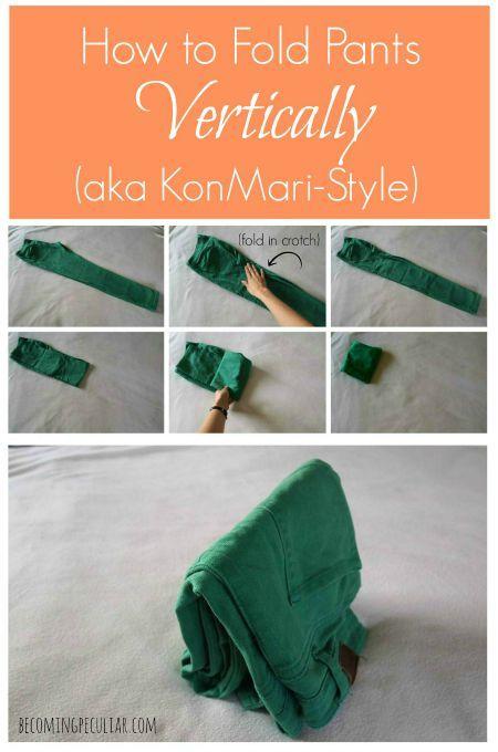 Howto fold pants the KonMari way
