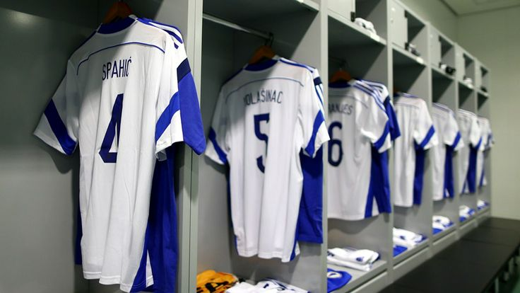 The shirts worn by Bosnia-Herzegovina players hang in the dressing room prior to the match