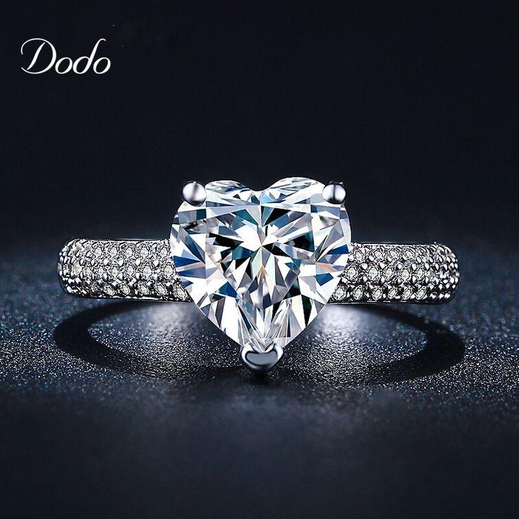 A forma di cuore oro bianco placcato gioielli Anello antico cristallo di diamante DELLA CZ wedding band Anelli Di Fidanzamento per le donne ragazze bijoux DR048