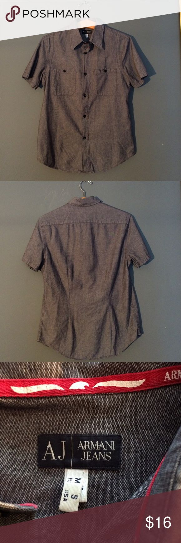 Armani jeans shirt size S 100% cotton gray Armani jeans shirt size S 100% cotton gray. In excellent condition Armani Jeans Shirts Casual Button Down Shirts
