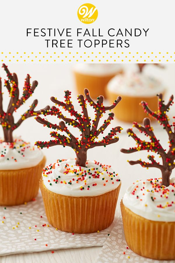 Delight in the colors of autumn with these Festive Fall Candy Tree Cupcakes. Use your favorite cupcake recipe, then decorate your treats with candy trees and nonpareil sprinkles. An easy and quick project for beginning decorators, these fall cupcakes are great for fall birthdays, holidays or just enjoying with a hot cup of apple cider! #witoncakes #cupcakeideas #fallcupcakes #autumncupcakes #easycupcakes #beginnercupcakes #candymelts #sprinkles #falldesserts #fallbaking #dessertideas #chocolate