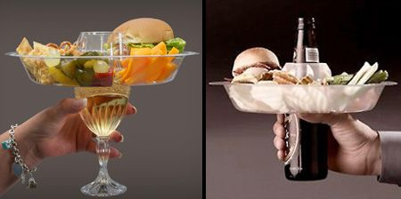 Go Plate allows a plate and glass or bottle to be carried in one