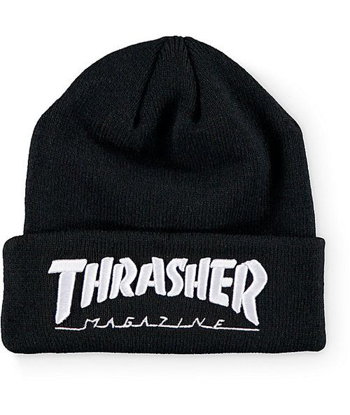 Thrasher Mag Logo Embroidered Beanie (Black)