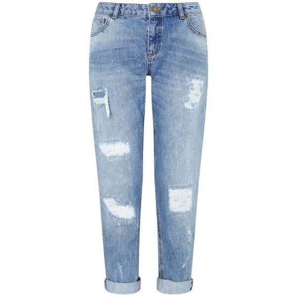 Miss Selfridge KITTY Vintage Boyfriend Jean (925 MXN) ❤ liked on Polyvore featuring jeans, pants, bottoms, blue, mid wash denim, boyfriend fit jeans, distressed jeans, slim boyfriend jeans, destroyed boyfriend jeans and torn boyfriend jeans