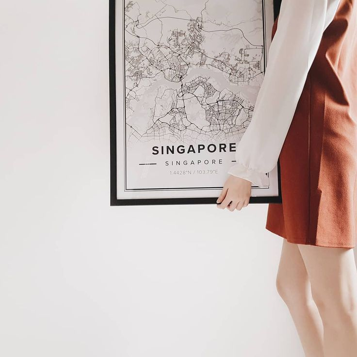 Map of Singapore. Print size 50 x 70 cm. Custom black and white map posters online. Mapiful.com.