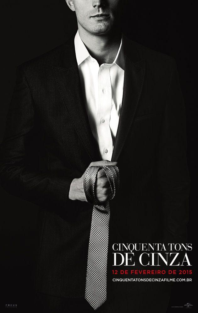 Christian Grey e sua famosa gravata no novo pôs ter de 'Cinquenta Tons de Cinza'