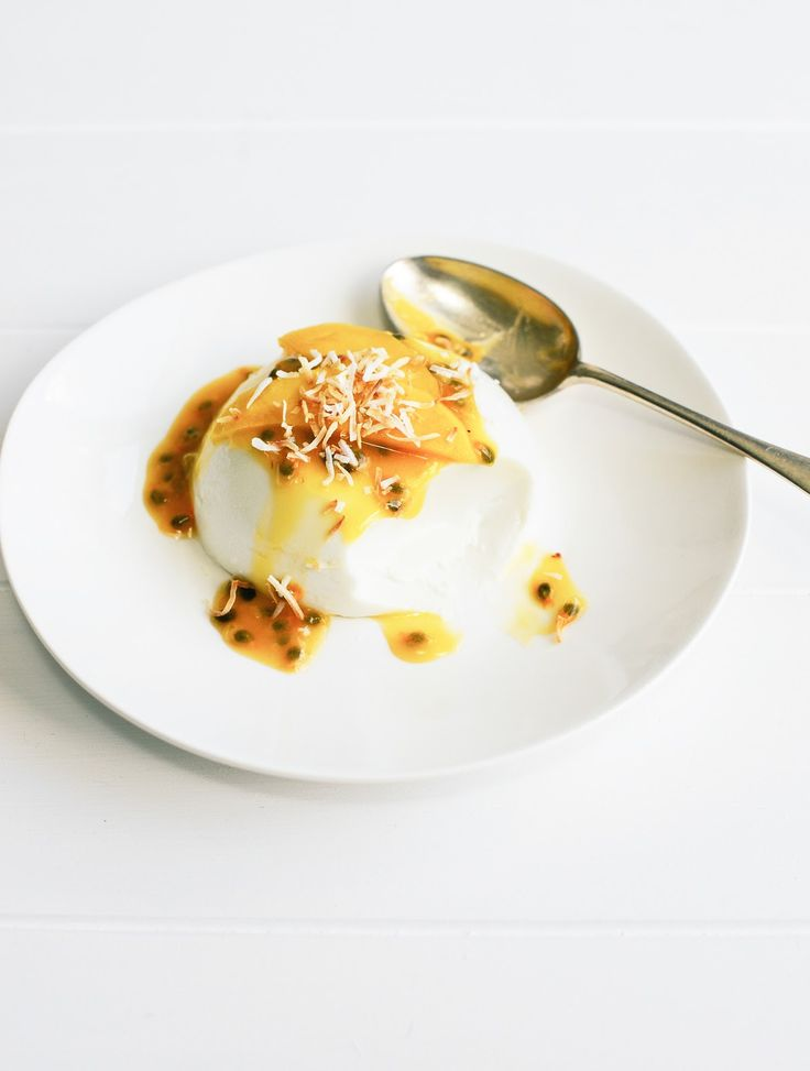 Coconut and Lime Pannacotta with passionfruit curd and mango I From the Kitchen