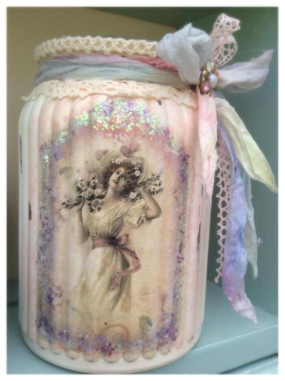 Shabby Chic Jar made by LilyAnneOriginals incorporating Perran Yarns handdyed recycled sari silk ribbon
