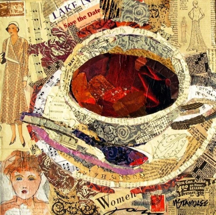 #collage art #Coffee cup ToniK ☕Coffee♥Craft☕ nancystandlee.blogspot.com