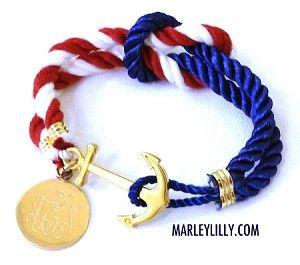 Monograma de la bandera americana Anchor cuerda pulsera
