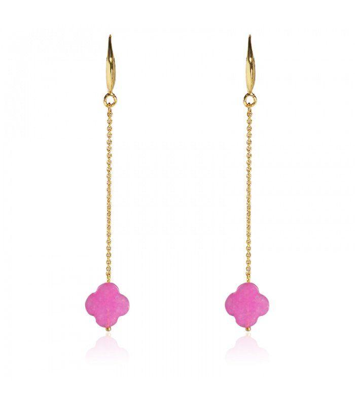 Roze gold plated oorbellen met klavertje vier|Mooie oorbellen koop je online | Yehwang fashion en sieraden