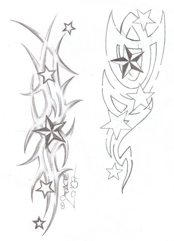 Tattooflash Tribal Stars by 2Face-Tattoo.deviantart.com on @deviantART