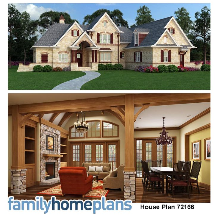 French Country Home Plan Stone Veneer Exterior And Stone