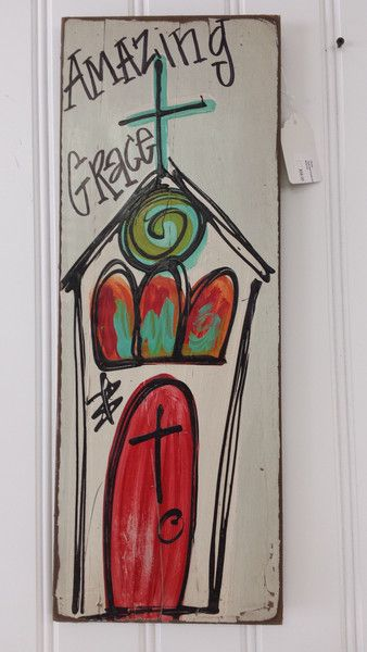 """Hand painted and distressed painting of a church. Approximately 24"""" by 9"""""""