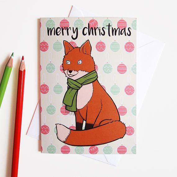 Greeting Card, Merry Christmas, Winter Fox, Christmas Card, blank greetings cards with white envelope  £2 by Adelayde Art, Melissa Nettleship