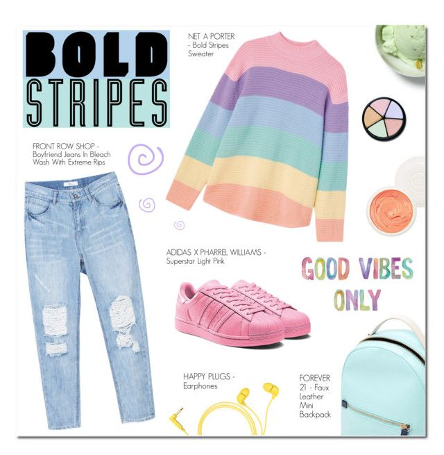 """""""BIG, BOLD STRIPES"""" by larissa-takahassi ❤ liked on Polyvore featuring Forever 21, Happy Plugs, Christian Dior, adidas, PastelColors, swirl, BoldStripes and supestar"""