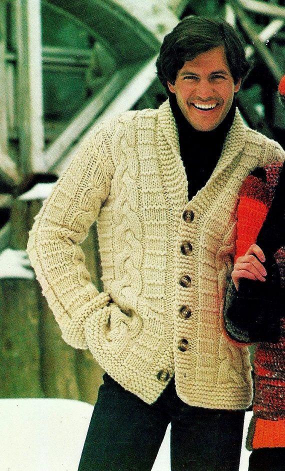 Fisherman Cable Cardigan Sweater Vintage por MomentsInTwine en Etsy